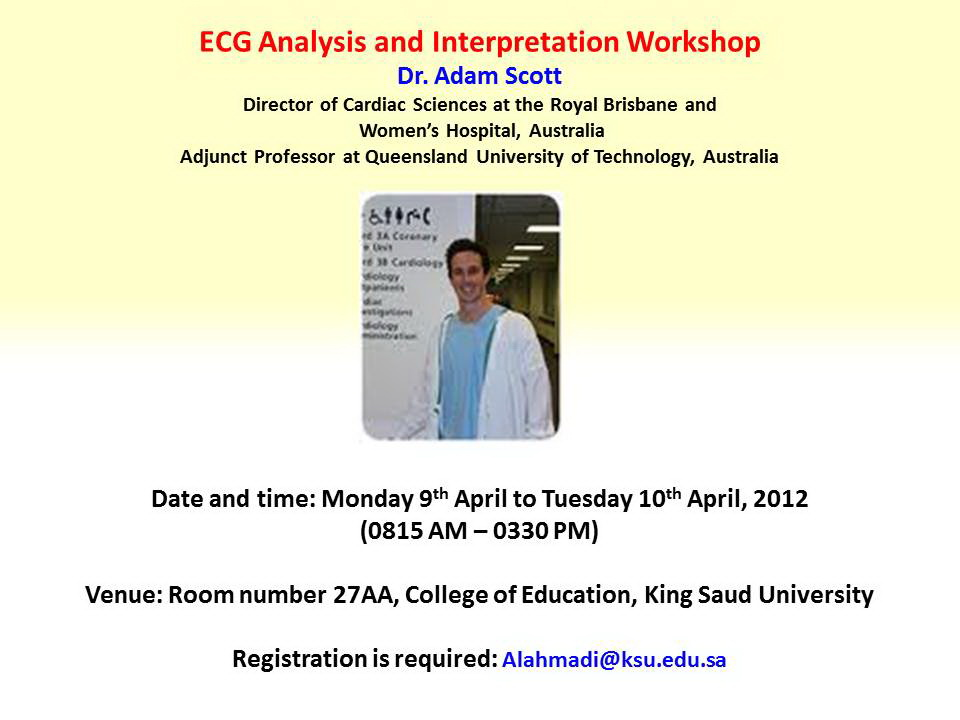 Dr. Adam Scott of Royal Brisbane and Women's Hospital to headline ECG analysis workshop
