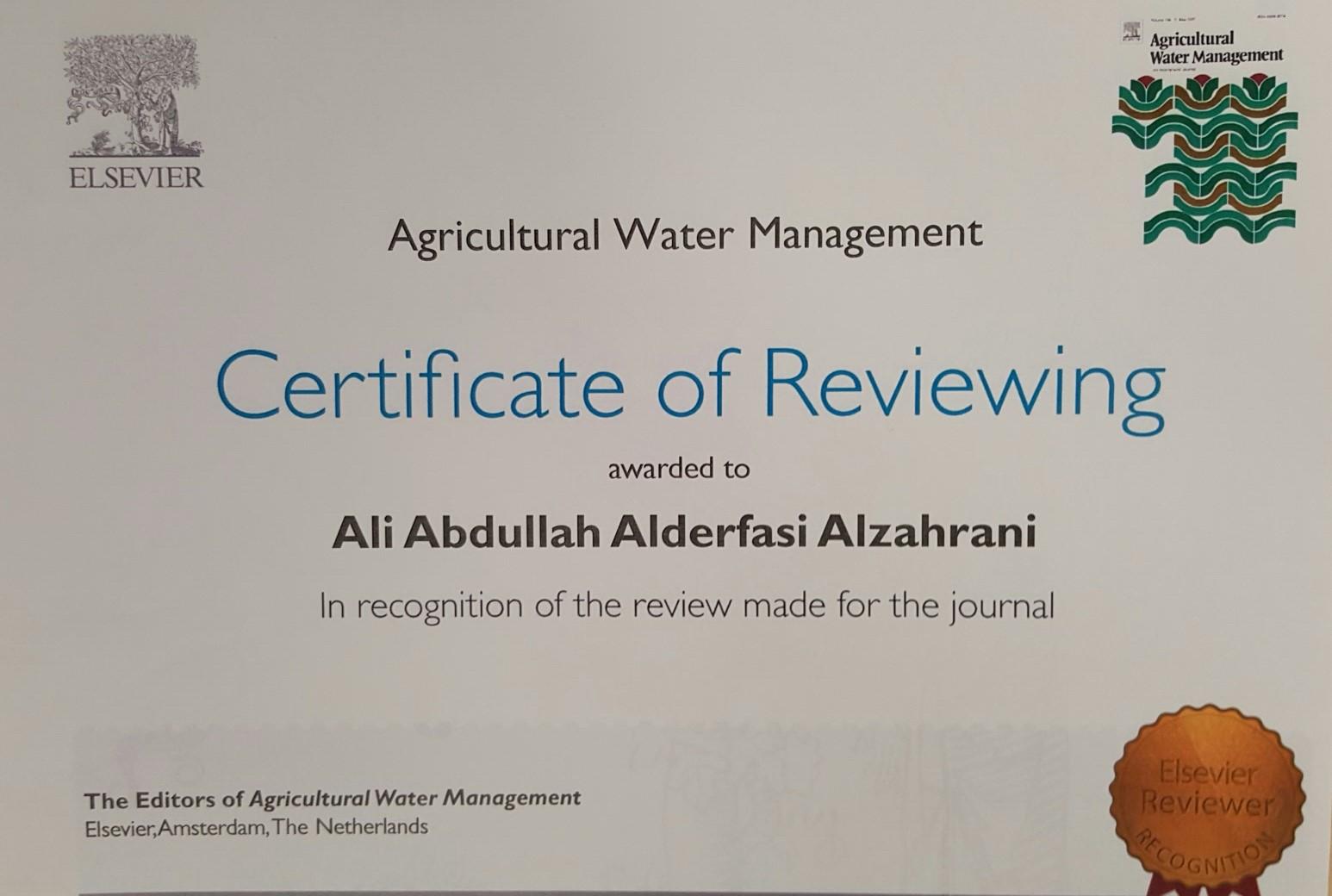 89- شهادة تقديرية للأستاذ الدكتور/ الدرفاسي- كلية علوم الأغذية والزراعة – من مجلة علمية دولية (ISI)