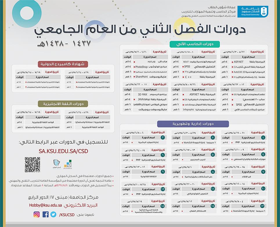 دورات للطلاب مع بداية الفصل الثاني بمركز الحاسب وتنمية المهارات
