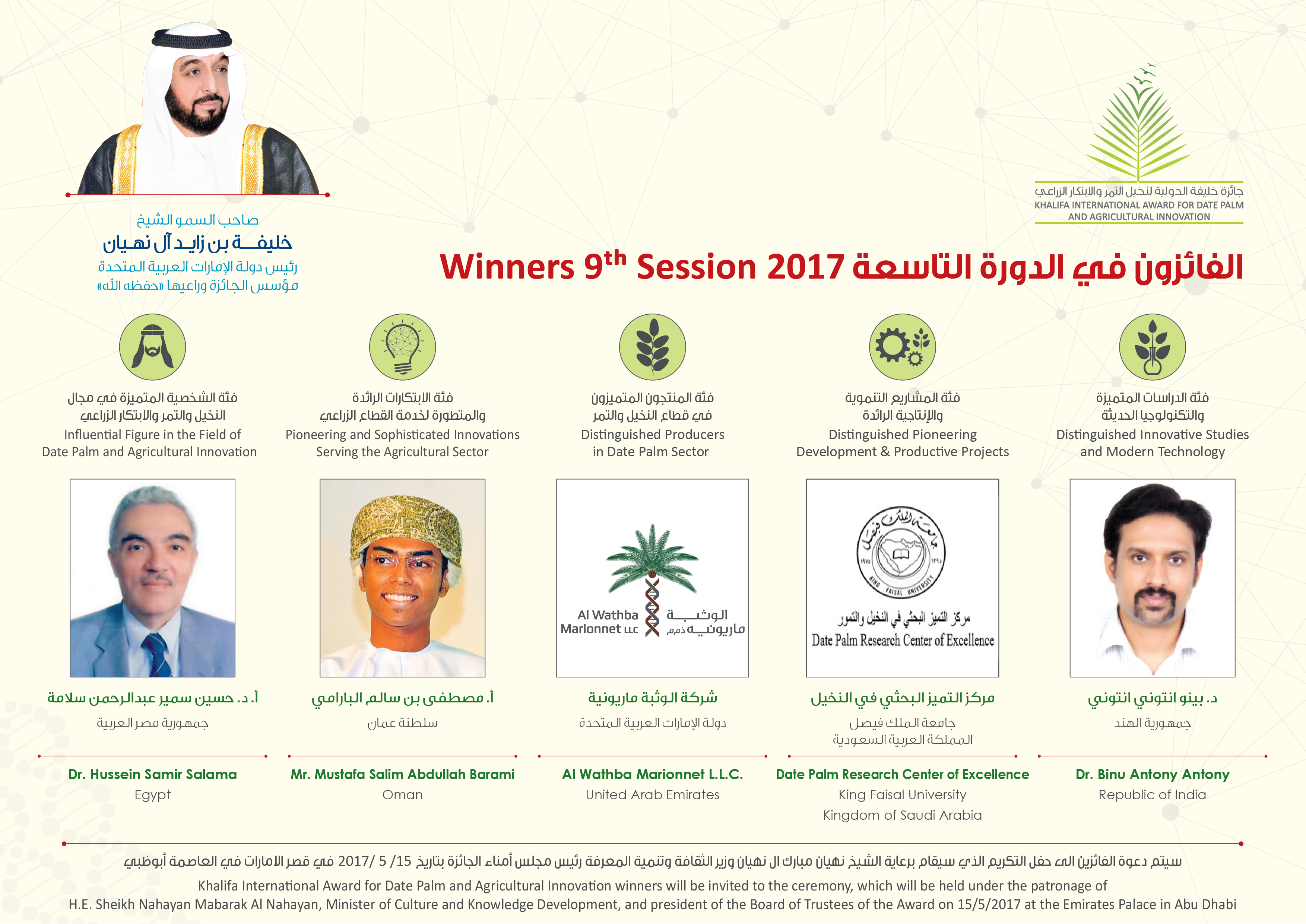 88- الدكتور/بينو من كلية علوم الأغذية والزراعة يحصل على جائزة خليفة الدولية لنخيل التمر والابتكار الزراعي.