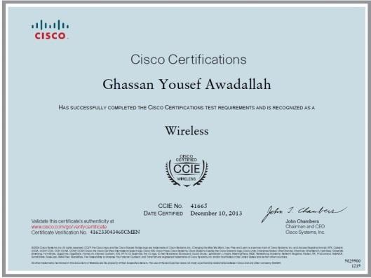 د. الوقيت يكرم غسان عوض الله لحصوله على شهادة CCIE-WIRELESS