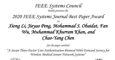 KSU Professor Wins Best Paper Award from a Prestigious IEEE Journal