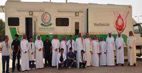 البدء بحملة  تبرع بالدم لجنودنا البواسل ( تبرع بدمك لتحمي حدك)  بكلية العلوم الطبية التطبيقية .