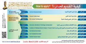آخر موعد للتقديم على جائزة جامعة الملك سعود للتميز العلمي  9رجب 1440هـ الموافق 16مارس2019م