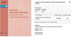 مجلة جامعة الملك سعود -علوم الحاسب والمعلومات تحصل على المرتبة الثانية عالميا وفقاً لشبكة العلوم