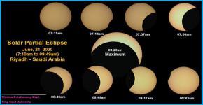 مراحل الكسوف الجزئي من مرصد قسم الفيزياء والفلك
